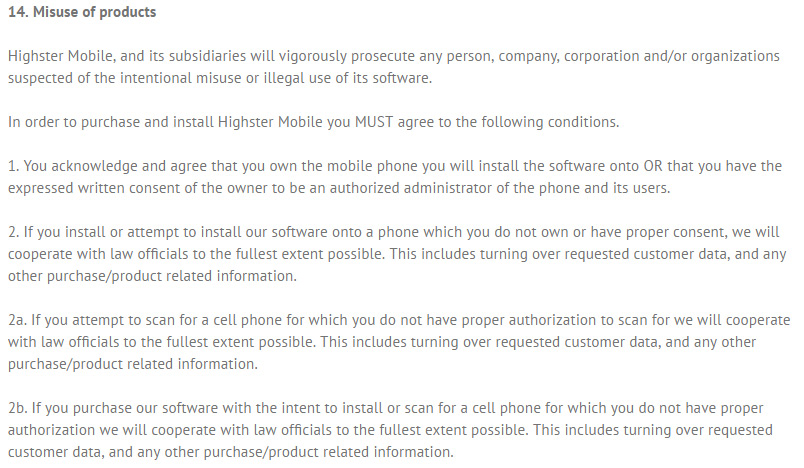 highster-mobile-privacy-agreement